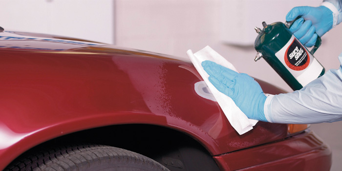 Cleaning the surface with a degreaser using two rags (one wet, one dry) is essential to proper paint prep.