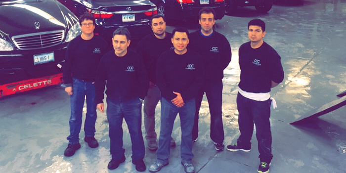 Part of the Crystal Clear Collision crew (from left): Luis Vera, Gotardo Traian, Otoniel Martinez Flores, Juan Carlos Rodriguez, Angel Rivera and Jorge Idrovo-Suarez.