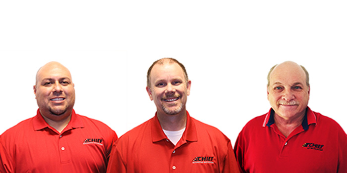 Ruben Castorena, Jeff Mathews and Len Gray (left to right) have joined Chief University's instructional team, bringing with them a wealth of knowledge about collision repair estimating, practices and equipment.