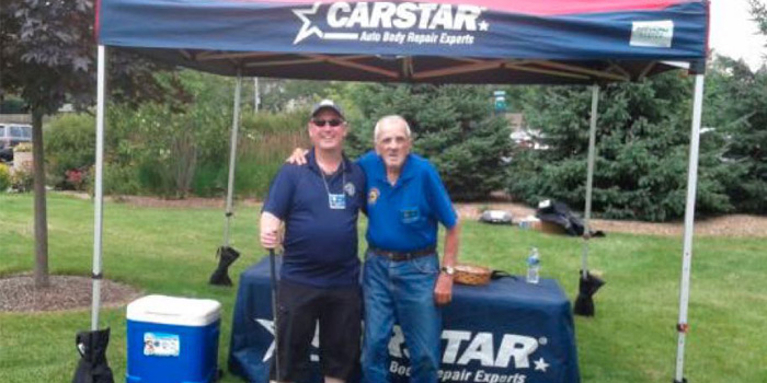 (From left to right) Mike Enos, State Farm office manager and event coordinator, and Frank Cuzio, Korean War Veteran and 40-year Knights of Columbus member.