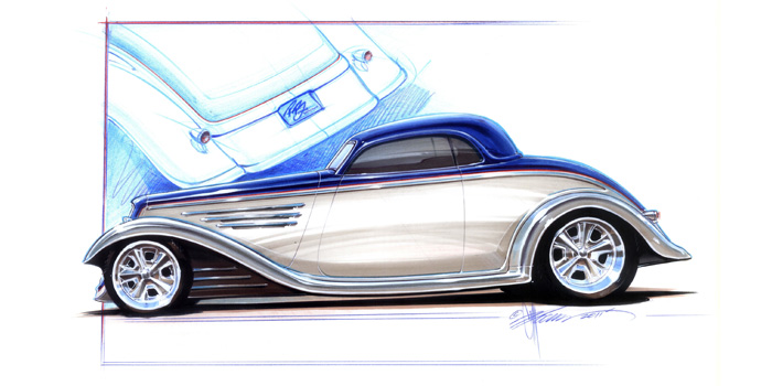 1933 Ford Coupe by Chip Foose featuring Glasurit® 90 Line custom blue and silver two-tone paint will be unveiled in the BASF SEMA booth Wednesday at 9 a.m.