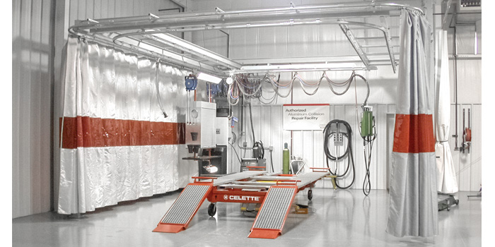 Clean rooms are a requirement for OEM network structural aluminum repair facilities. (Photo courtesy of Audi of America.)