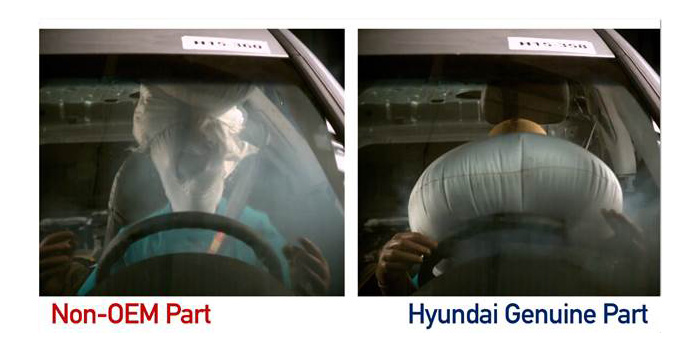 Testing of a non-OEM airbag vs. Hyundai Genuine airbag.