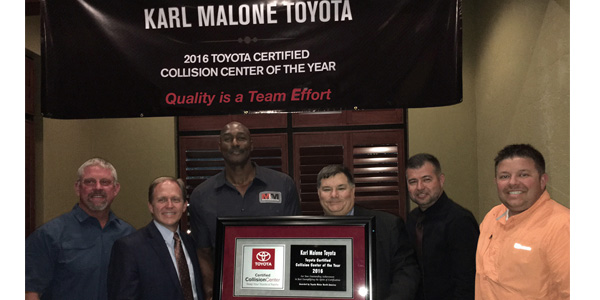 From Left To Right: Andrew Madsen, Co Owner; Laif Ekberg, Collision Center  Manager; Karl Malone, Co Owner; George Irving Jr., Toyota North America, ...