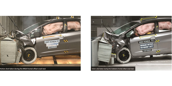 Left: An Action Shot Taken During The Feb. 21 Crash Test Conducted By MGA  Research. Right: An Action Shot Taken During The IIHSu0027s 2008 Crash Test.