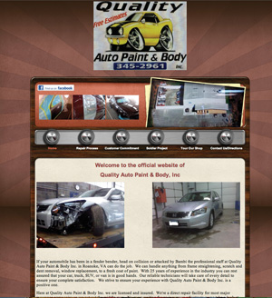 quality auto paint & body's outdated homepage.