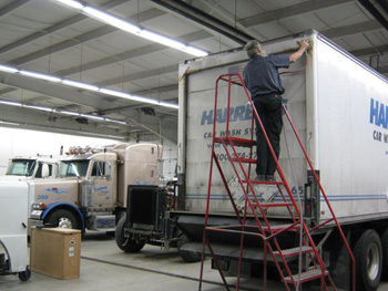 you can't do heavy-duty truck repair without large mobile platform ladders.