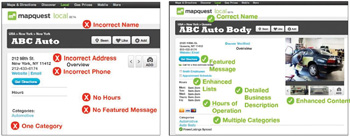 Before (left) and after NAP update of ABC Auto Body's vital information.