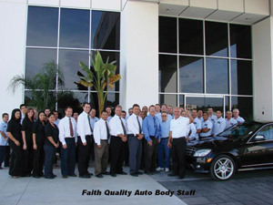 The Faith Quality Auto Body staff, dressed for success.