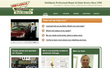 the pc version of erie-lasalle body shop's website.
