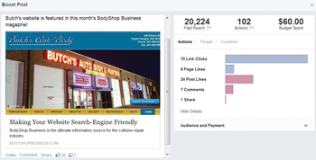 butch's posted on facebook that their website had been highlighted in bodyshop business, and by boosting the post, it reached more than 20,000 people around butch's hometown over the next 24 hours.