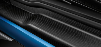 The carbon fiber door sill of the BMW i3. (Photo courtesy BMW)