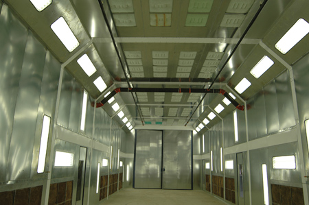 Heavy truck collision repair shops must have larger spraybooths for refinishing heavy trucks, which means of course that their buildings have to be large enough to accommodate them. (Photo courtesy of Col-Met Spray Booths)