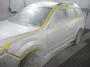 3. the three-stage basecoat has been sprayed and blended. now we're ready for the clearcoat.